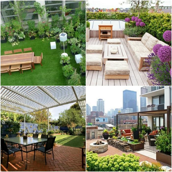 terrassen ideen collage gartenterrasse raigrass lila blumen, sommerliche sitzecke