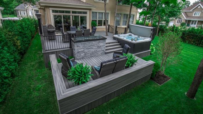 deko terrasse ideen zum verwrklichen, grau und grün kontraste im garten effektvoll