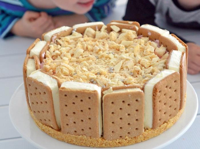 torte aus süßigkeiten, geburtstagstrote aus eiscreme und keksen, torte ohne backen