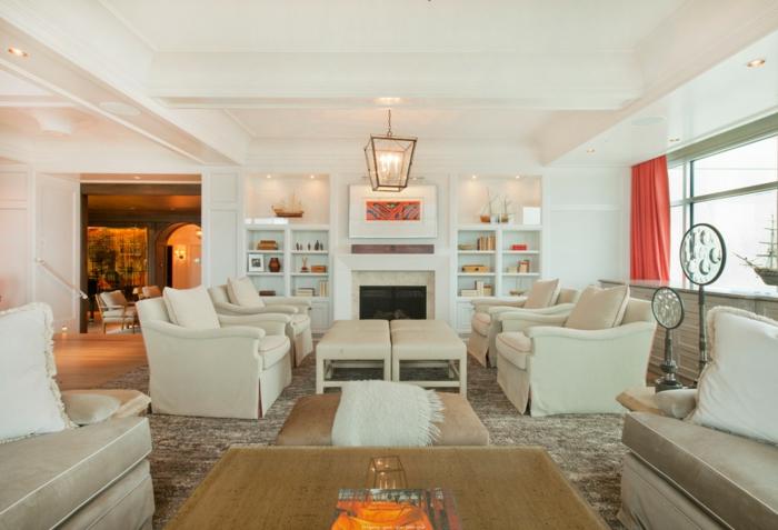 eine Einzimmerwohnung, viele Sessel und Sofas, Wohnzimmer gestalten