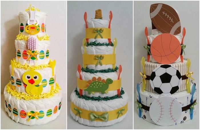 eine vierstöckige torte aus weißen windeln und mit einem kleinen gelben kücken und einem gelben schnuller und mit bunten ostereiern, ein grüner dinosaurier und grüne schleifen, eine windeltorte für jungen und mit vier bällen