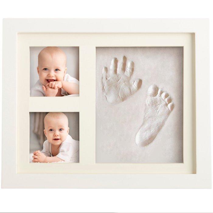 Handabdruck und Fußabdruck, zwei Bilder von Baby, schöne Deko für Babyzimmer
