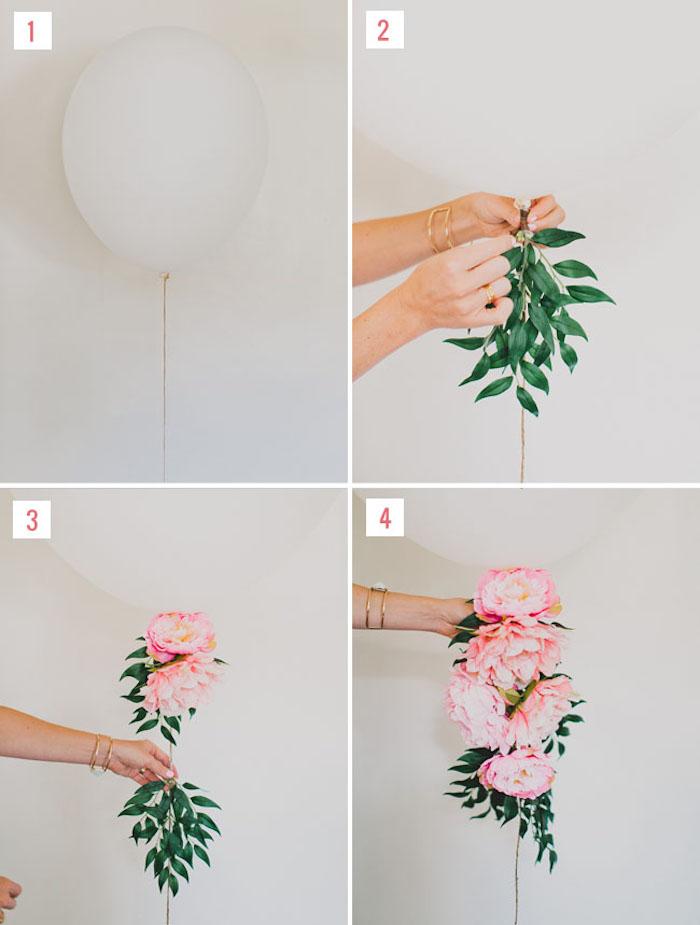 Weißen Luftballon mit echten Blumen verzieren, Anleitung in vier Schritten, Idee für Hochzeitsgeschenk