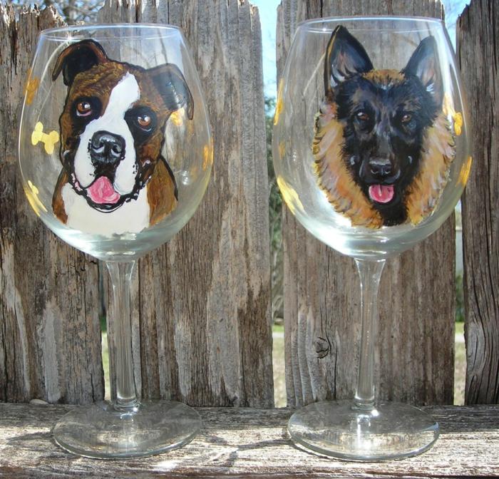 Gläser mit Haustieren, zwei Hunde, ein prima Gartendeko, Glas farben