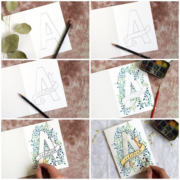 kreative geburtstagskarten basteln, klappkarte aus weißem papier, große buchstabe zeichnen, blätter malen