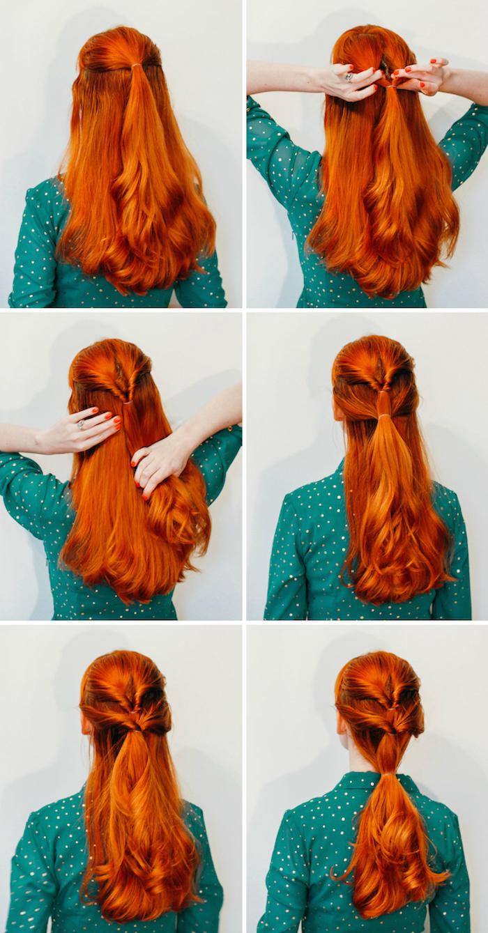 frisuren halblang gestuft locken, grünes hemd mit goldenen punkten, lange rote haare, haarfarbe kupfer