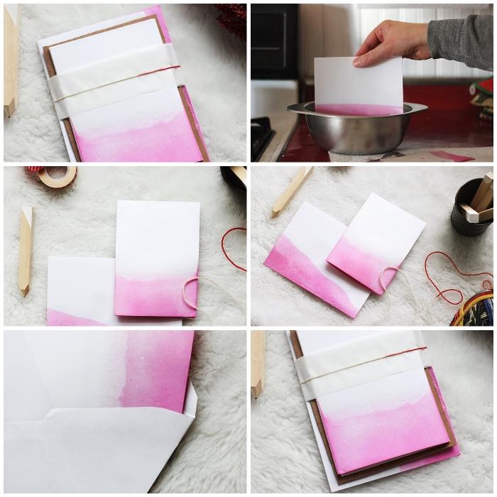 kreative geburtstagskarten basteln, papier mit rosa wasserfarbe bemalen, ombre effekt, diy ideen