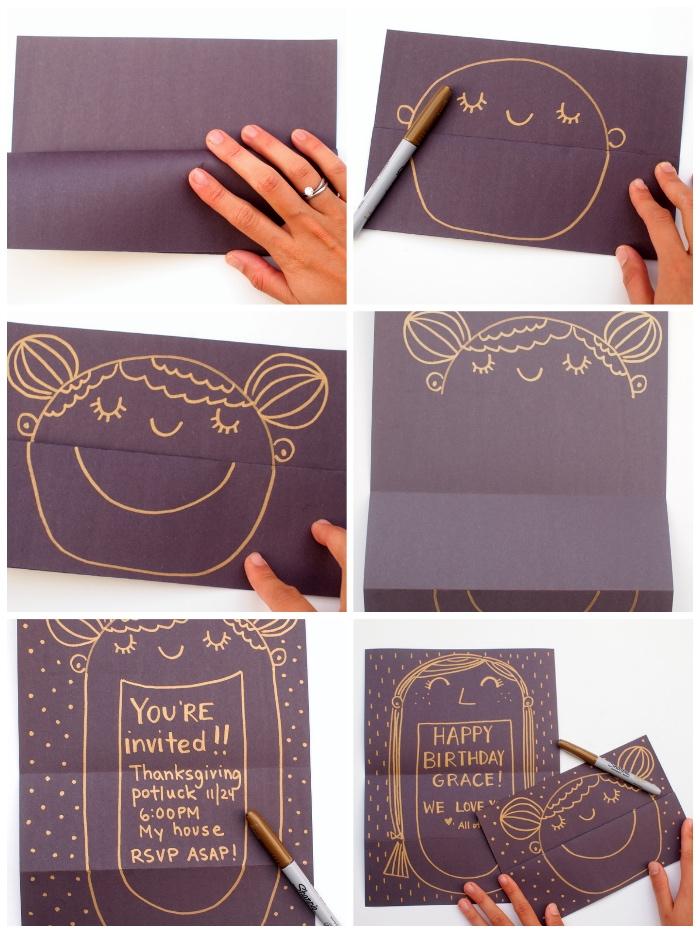 karten basteln, papier falten, mädchengesicht zeichnen, glückwunsch zum geburtstag, diy