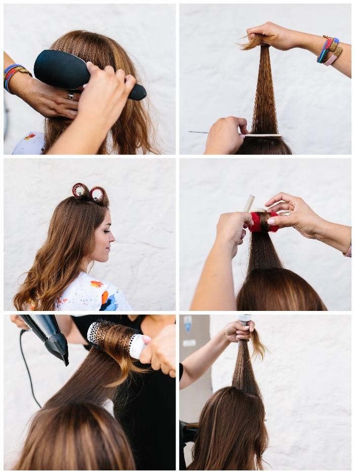frisuren halblang gestuft locken, haare kämmen und toupieren, haarrollen verwenden, locken machen