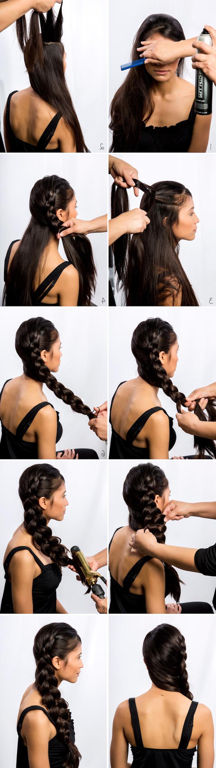 flechtfrisuren einfach, lange glatte schwarze haare, großer zopf binden, seitenzopf, frauenfrisuren