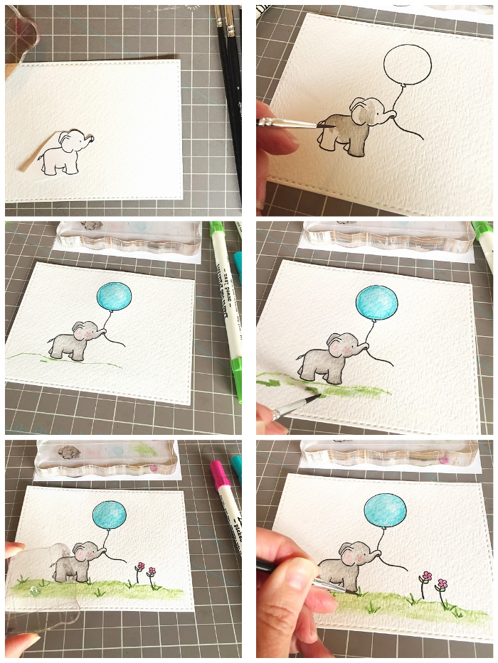 kreative geburtstagskaten basteln, collage aus bildern, elefant zeichnen, blauer luftballon, bild malen