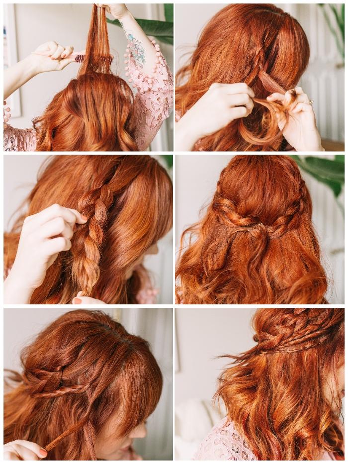 locken frisuren halblang, rote haare, haarfarbe kupfer, zopf flechten, einfache flechtfrisuren