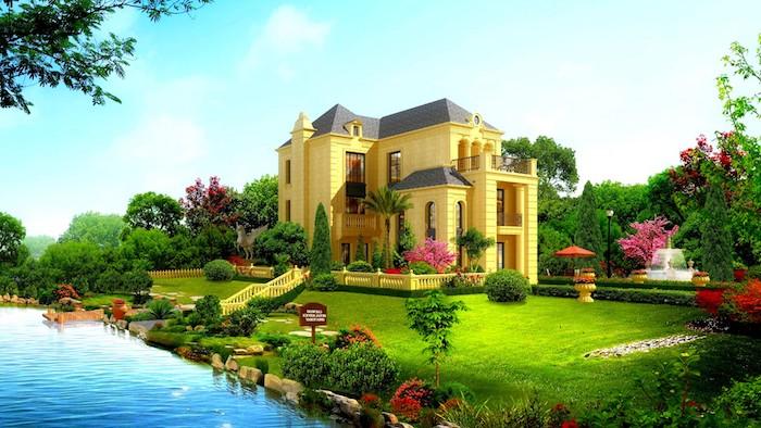gartenplanung beispiele, gelbes haus mit großem garten, see, villa, grüner gras