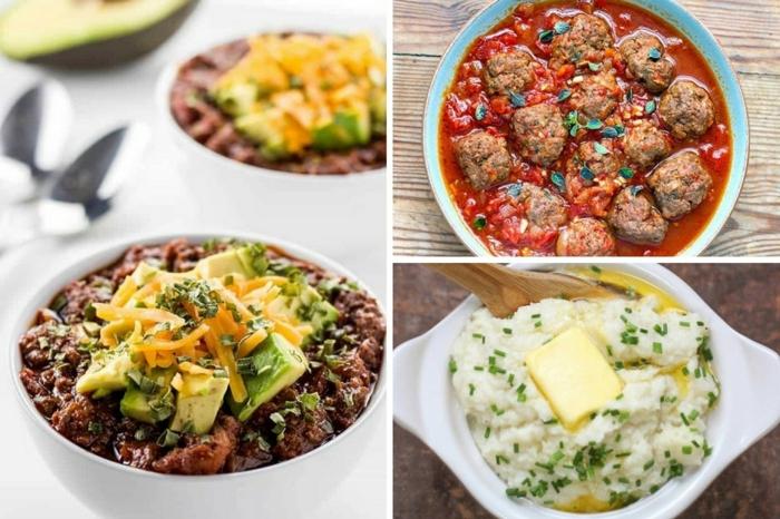 drei bilder schauen abendessen ideen warm, frikadellen in tomatensoße, hackfleisch mit gemüse oder reis