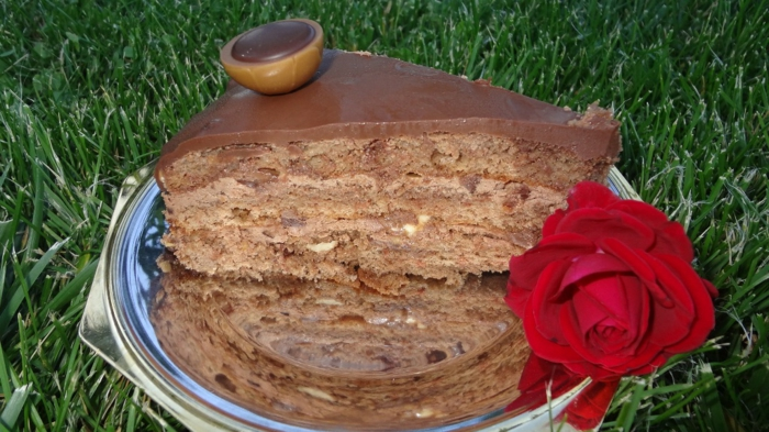 ein Stück Toffifee Torte auf einer Platte, eine rote Rose verschönert das Bild auf einer Wiese