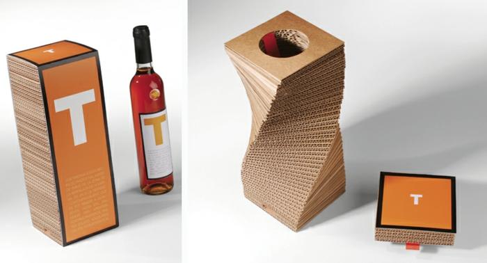 Weinflasche verpacken, eine originelle Verpackung, die sich dreht, Verpackung aus Karton, der Buchstabe T
