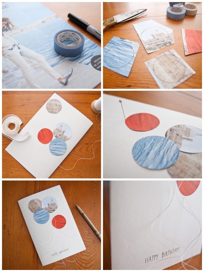 bastelideen für erwachsene geburtstag, kreise aus papier ausschneiden, luftballons aus faden und papier