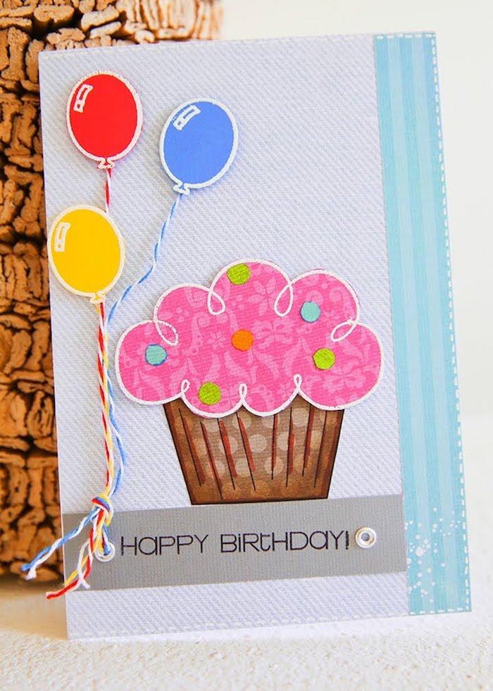 bastelideen für erwachsene geburtstag, rosa cupcake, bunte luftballons, klappkarte mit 3d dekorationen