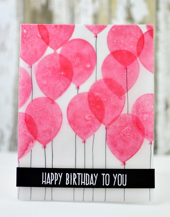 bastelideen zum geburtstag, geburtstag, geburtstagskarte aus weißem papier dekoriert mit rosa luftballons