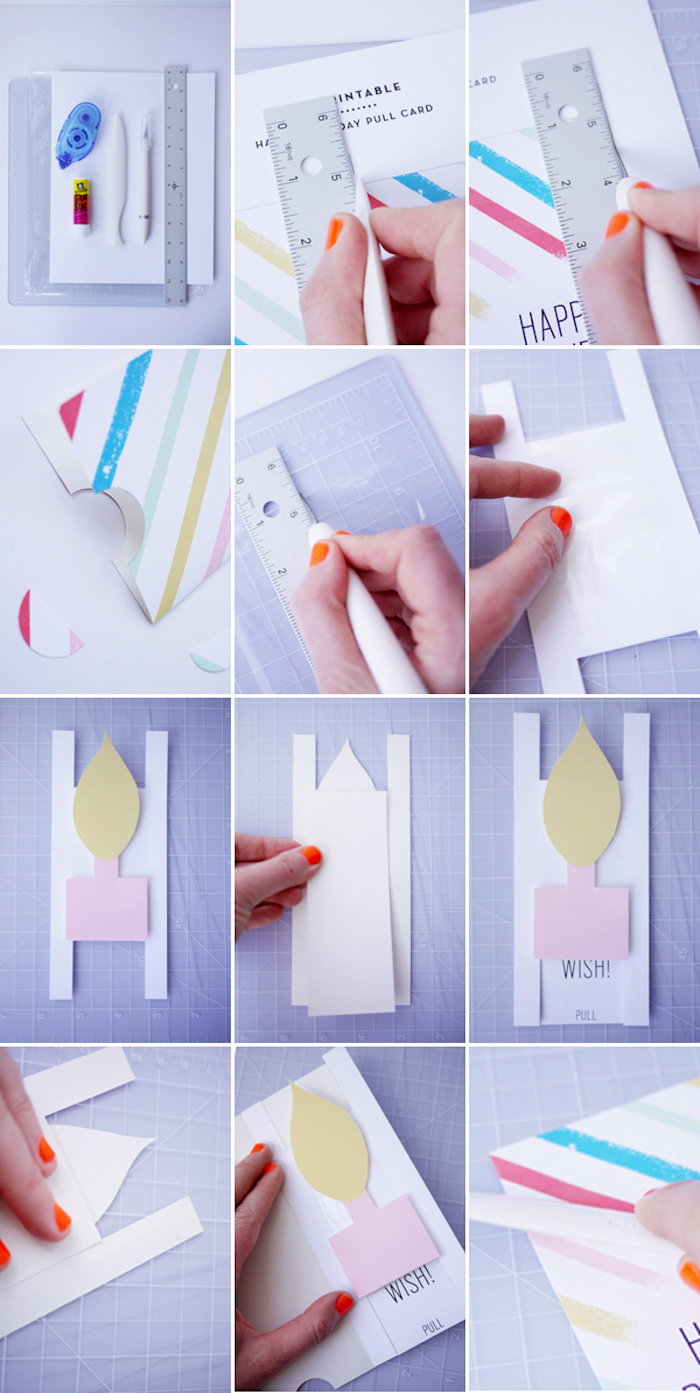 bastelideen zum geburtstag, gerade linie zeichnen, weißes papier, lineal, bastelmaterialien, anleitung
