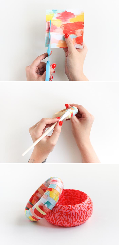 Holz Armband mit Serviettentechnik verzieren, DIY Anleitung zum Nachmachen