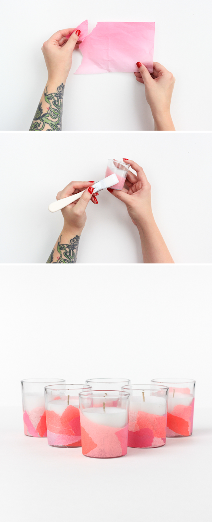 Kerzen mit Serviettentechnik verzieren, leichte DIY Idee zum Nachmachen
