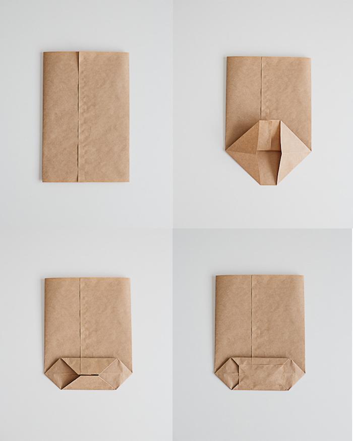 eine diy anleitung in vier schritten, ein weißer tisch mit vier braunen tüten aus einem alten braunen papier, eine papiertüte basteln