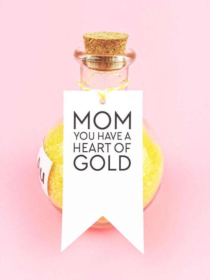 Badesalz selbst herstellen, Anhänger ausdrucken, coole Geschenkidee zum Muttertag, du hast goldenes Herz