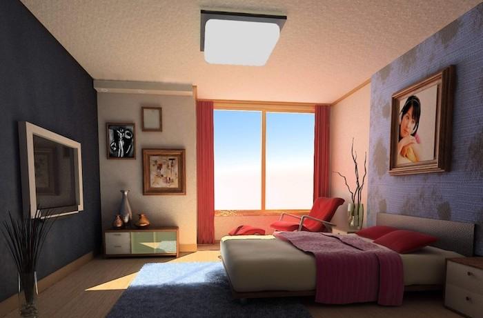 deko ideen schlafzimmer, moderne gestaltung, wanddeko, bild mit einer frau, bilddeko, großes fenster