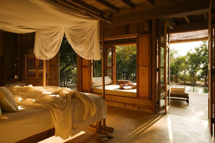 feng shui schlafzimmer ideen zum nachmachen, ein gemütliches schlafzimmer in hölzernem design, weiß und braun