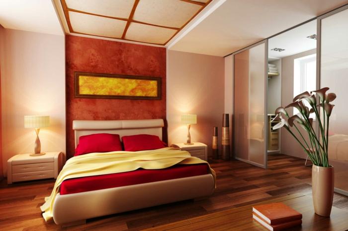 vase mit blumen, feng shui schlafzimmer, gestaltungsideen zum nachmachen, warme farben der erde im raum bringen harmonie und komfort mit