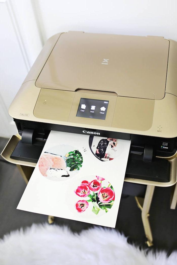 Bilder ausdrucken und Schalen verzieren, coole Idee für DIY Geschenk