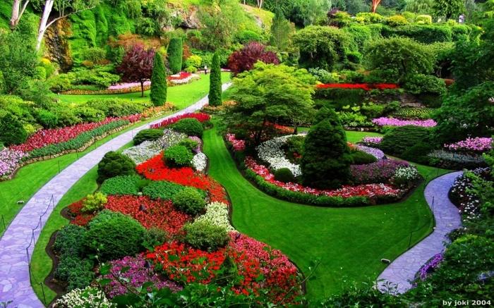 Garten gestalten für wenig Geld, schöne rote, lila und weiße Blumen, eine geometrische Gestaltung