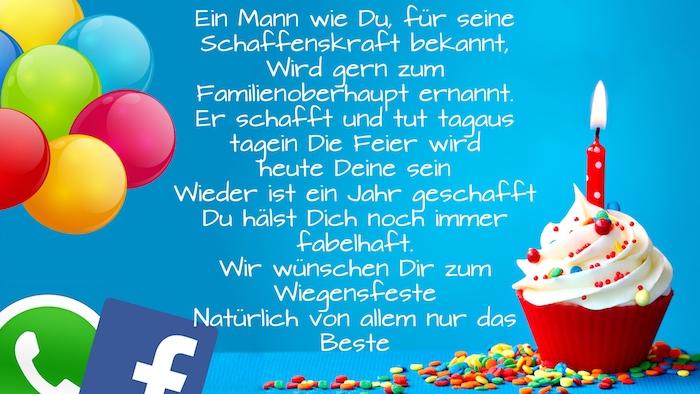 ein bild mit einem kleinen roten muffin mit sahne und mit einer kleinen roten kerze, viele violette, orange, grüne und blaue ballons, geburtstagswünsche whatsapp und facebook