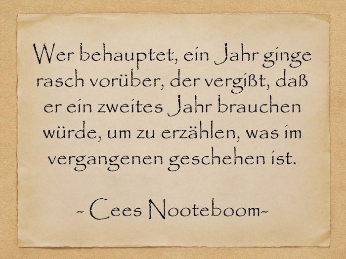 ein zitat von cees nooteboom, ein bild mit einem alten gelben blatt papier, kurze geburtstagswünsche männer