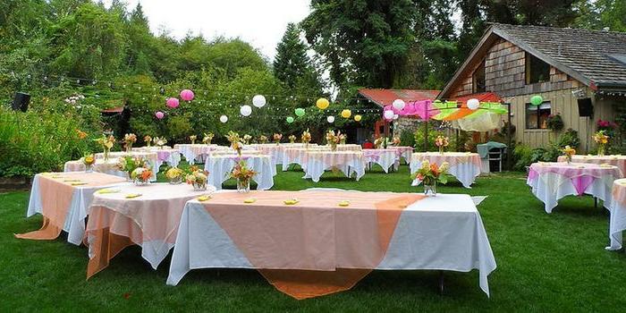 vielfältige partyartikel, ideen zum gestalten einer schönen party bunte baloons, tische, holzhaus