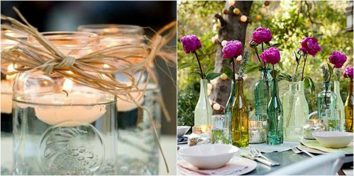 deko für geburtstag ideen zum nachmachen, kleine kerzen schwimmen in einmachgläsern, flaschen als vasen, blumen drinnen
