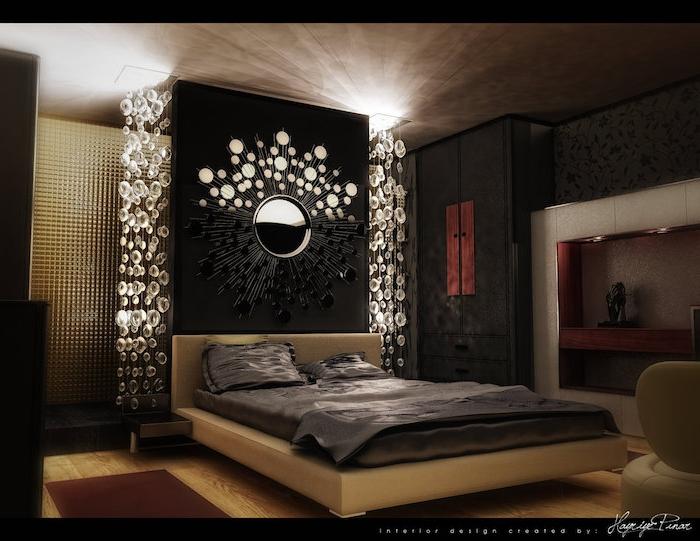 deko ideen schlafzimmer, dunkles zimmerdesign, spiegel, beiges bett, braune gestaltung, dunkles zimmerdesign