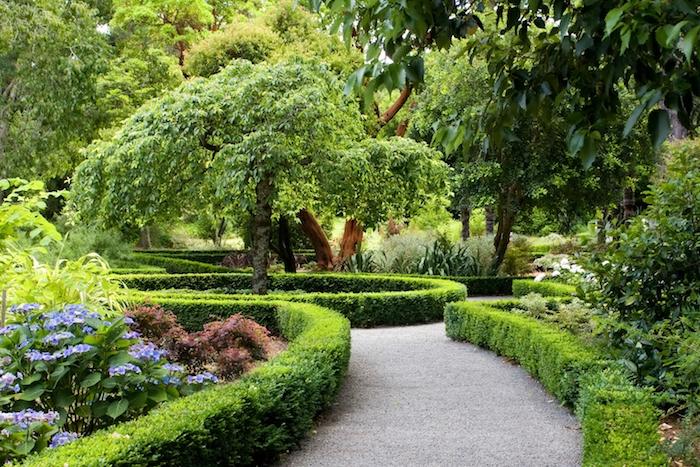 deko ideen garten, labyrinth aus grünen büschen, viele bäume, pfad aus naturstein