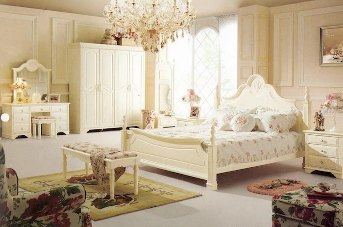 schlafzimmer ideen in stil shabby, weiß, grün, rot, lampe, schrank, teppich, spiegel, kissen