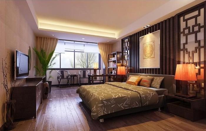 schlafzimmer gemütlich gestalten, orientalische deko im zimmer, bett, wandgestaltung, raum, fenster
