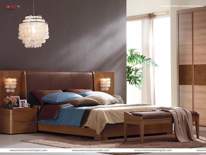 schlafzimmer ideen lampe, design, blau, braun, beige, schrank, zimmerpflanze, ideen