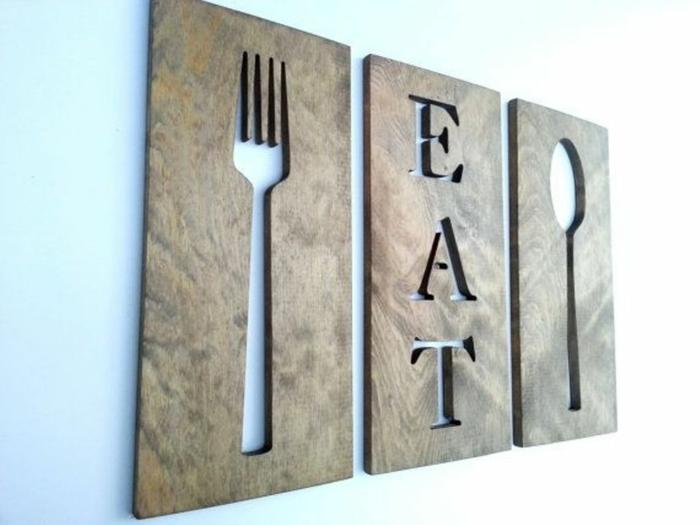 eine Tabelle, Gabel, Löffel und eine Aufschrift Eat, Wandgestaltung Küche zum Erstaunen