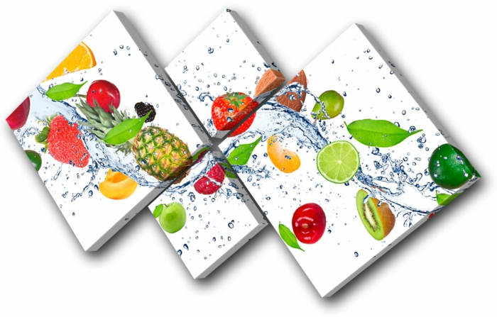 Küchenwand gestalten, eine Dekoration zum Kaufen, exotische Früchte und Wasser als Bilder