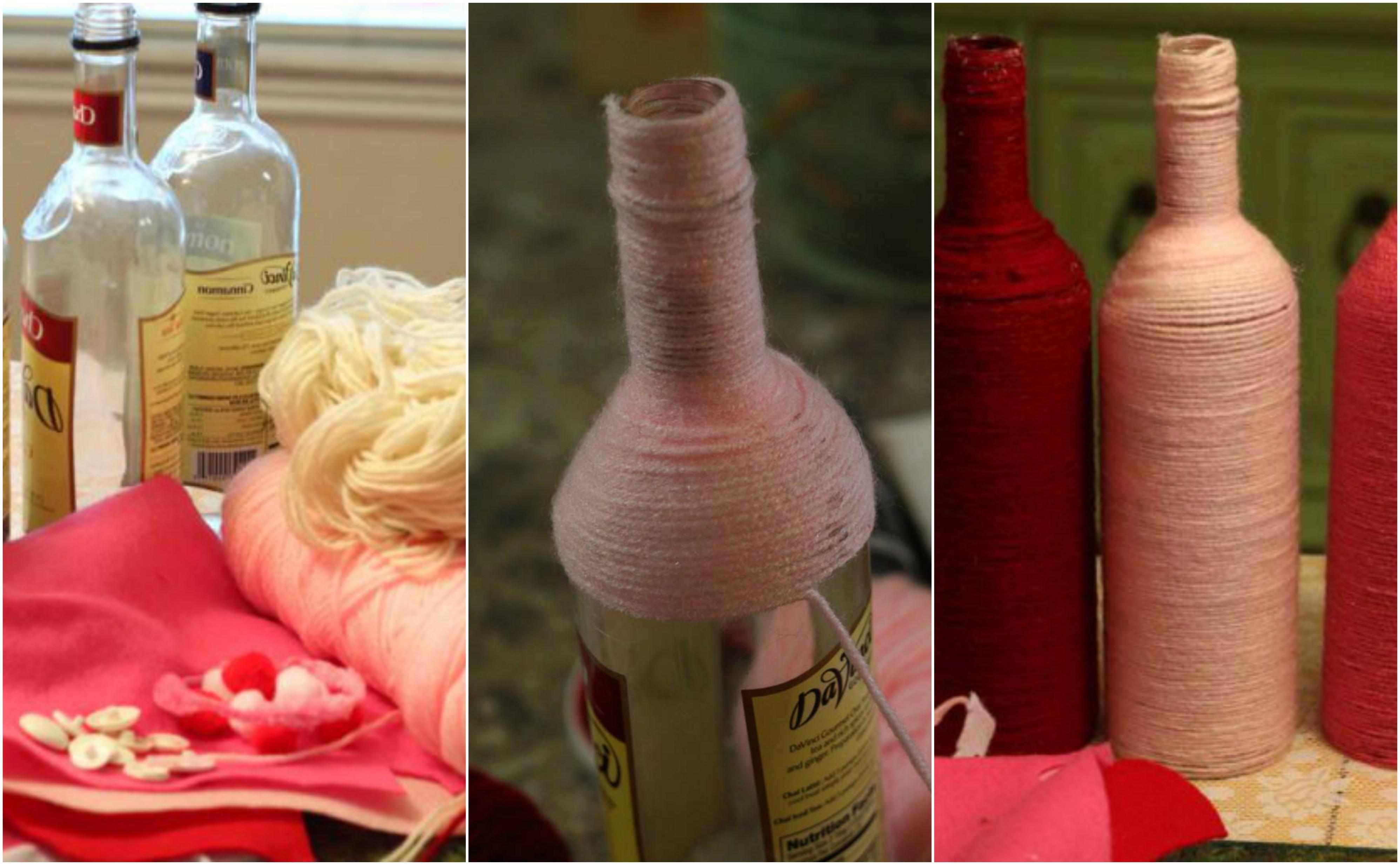 eine Anleitung in drei Schritte, wie Sie herrliche Flasche einpacken zur Dekoration