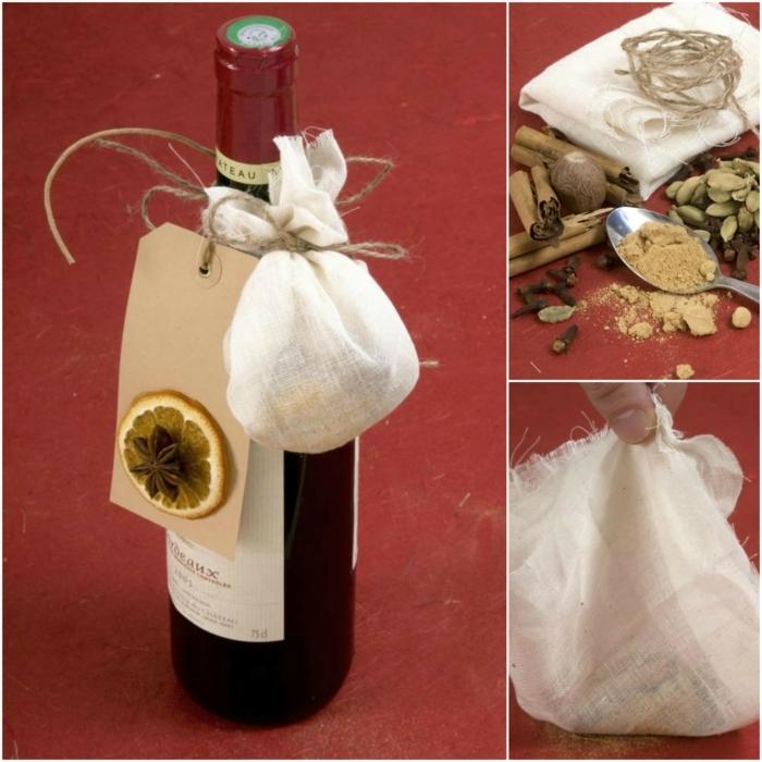 eine kreative Weise, wie Sie Flasche verpacken, mit Beutel voller Duftstoffe