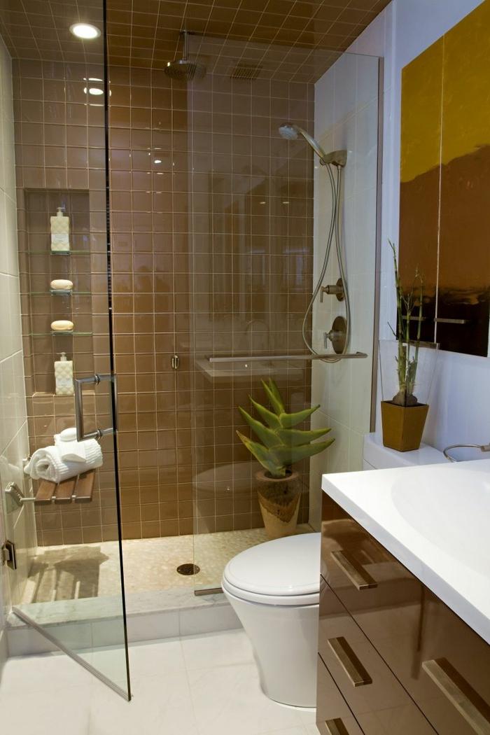 kleines Zimmer einrichten, ein kleines Badezimmer, weiße und braune Fliesen