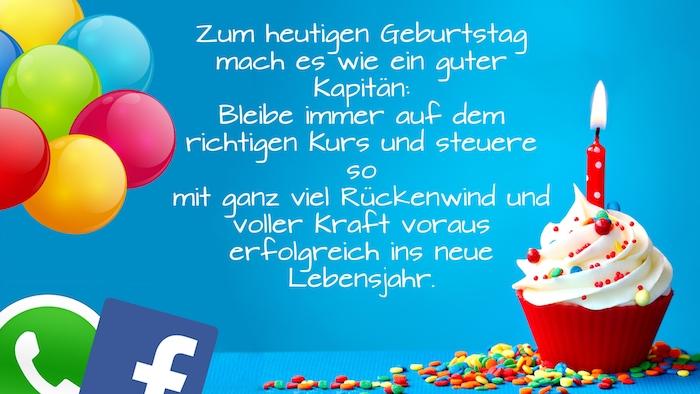 ein kleiner roter muffin mit sahne und mit einem kleinen roten kerze, geburtstagswünsche für männer bilder, viele grüne, violette, blaue und gelbe ballons, geburtstagswünsche whatsapp und facebook
