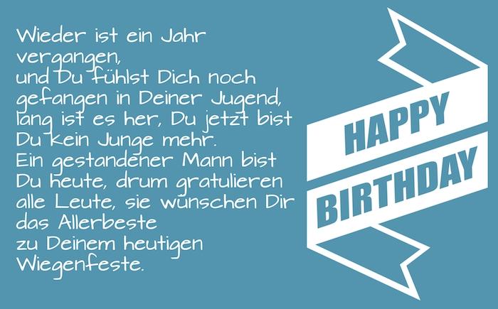 lange weiße große happy birthday schleife, ein blaues bild mit einem geburtstagsspruch, geburtstagswünsche lustig