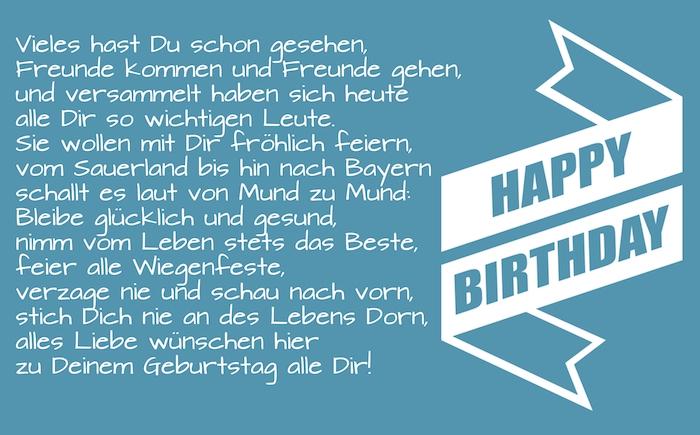 blaues bild mit einem geburtstagsspruch, geburtstagswünsche whatsapp, eine große weiße happy birthday schleife